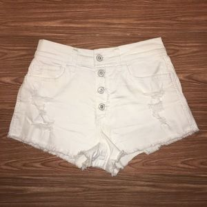 Hollister Vintage Relaxed White Shorts High Rise
